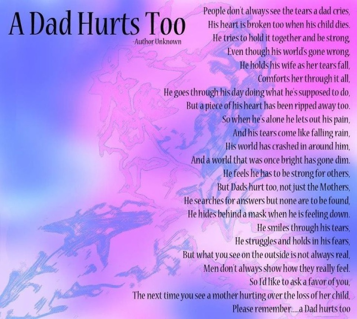 Don't forget Dad. Miscarriage. Infant loss. Bereaved fathers....