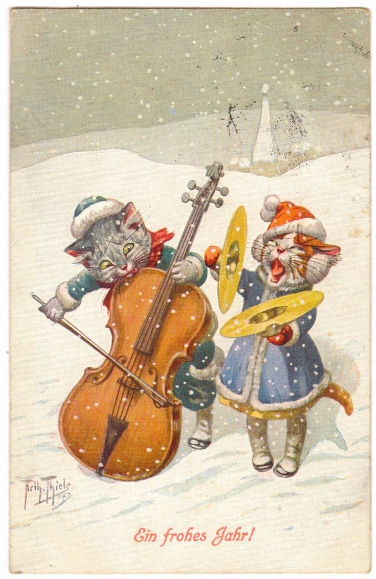Arthur Thiele postcard | eBay Cats singing in the snow...