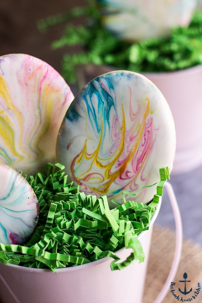 Easter Egg Sugar Cookies with Marbled Royal Icing   The Beach House Kitchen