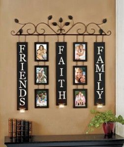 Faith Family Friends 6 Photo Metal Wall Art Scone Hanging Decoration 30 Square