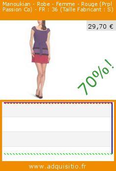 Manoukian - Robe - Femme - Rouge (Prpl Passion Co) - FR : 36 (Taille Fabricant : S) (Vêtements). Réduction de 70%! Prix actuel 29,70 €, l'ancien prix était de 99,00 €. http://www.adquisitio.fr/manoukian/robe-femme-rouge-prpl