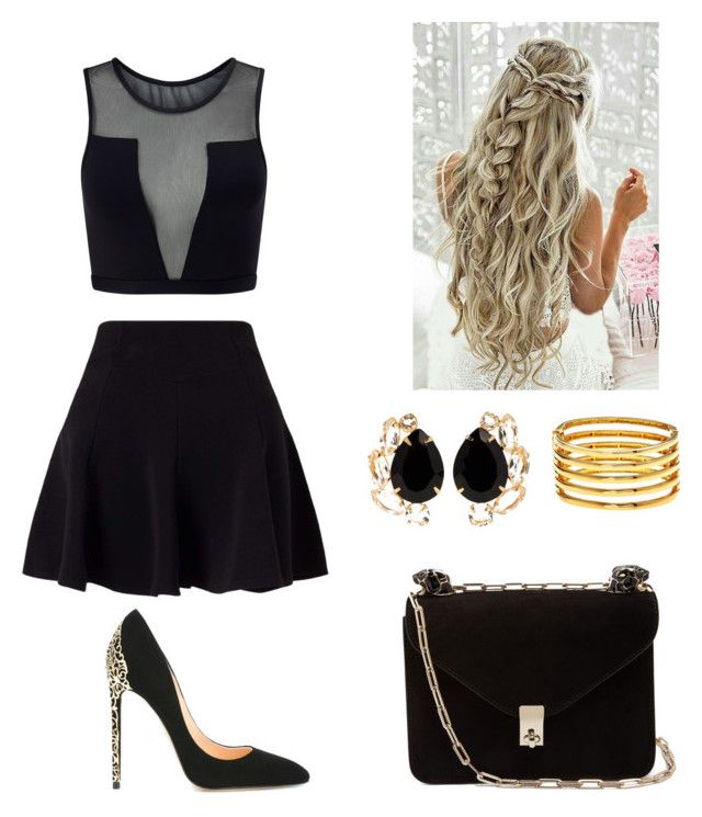 """Black"" by maleja-castro-torres on Polyvore featuring moda, Varley, Miss Selfridge, Cerasella Milano, Kenneth Jay Lane, Bounkit y Valentino"