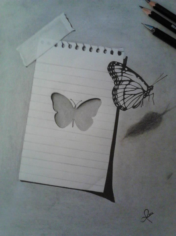 3D butterfly drawing. I love how it looks like the butterfly has flown out of the paper.