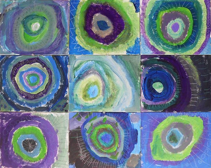 Circle Scientists. Unit exploring different materials and techniques focussing on circle/shape. Small painted canvases. Prep Year