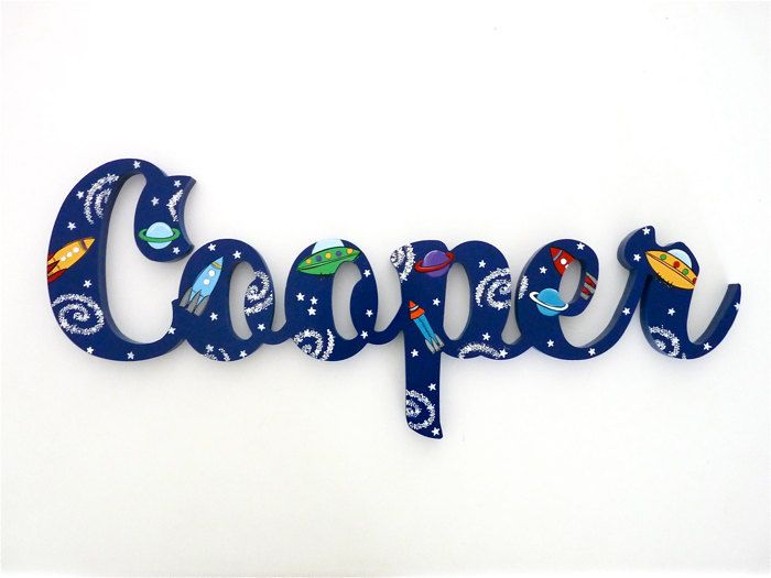 Kids Name Signs Space Theme Wall Art Kids name plaques and