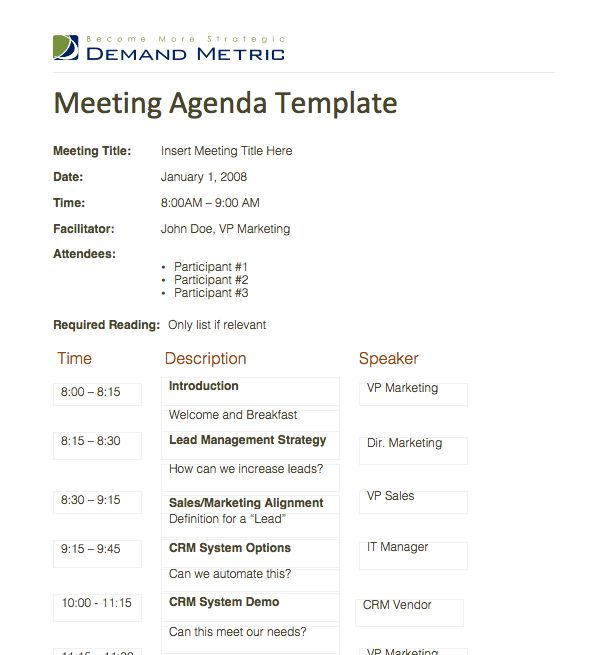 Meeting Agenda Template A template to organize meeting topics – Meeting Agenda