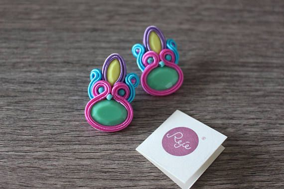 Soutache earrings, statement earrings, soutache jewelry, handmade in Italy, OOAK, gipsy, boho chic, bohemian, turquoisem yellow, pink