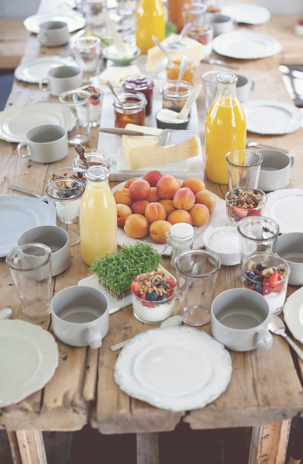 dreamy breakfast or brunch table setting. from a swedish cottage featured on style-files.com. Inspiring and natural, this makes me want to take a break from cereal and eat a grown-up breakfast regularly.