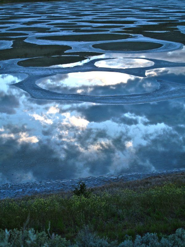 Watery circles on Spotted Lake, Osoyoos, British Columbia ~ | Photo by Random June & Warren