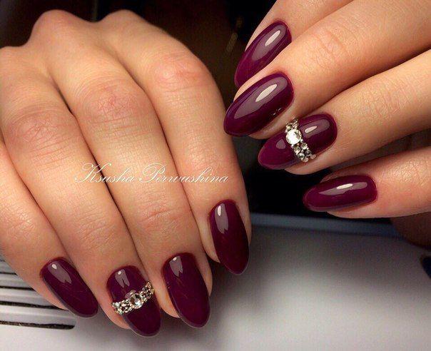 Фото дизайн ногтей бордового цвета