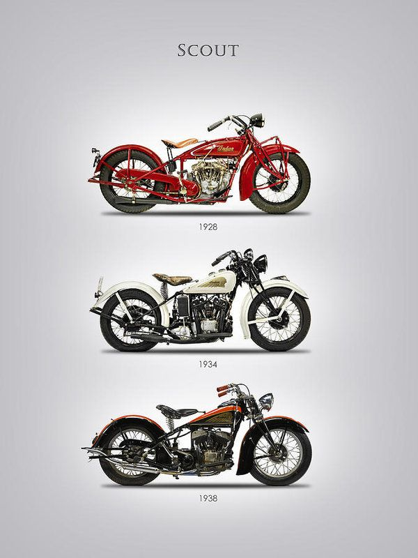 Indian Scout Print featuring the photograph Indian Scout Trio by Mark Rogan