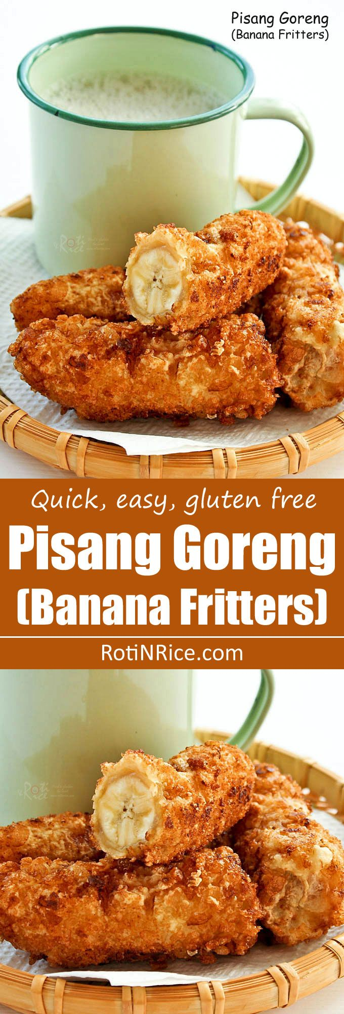 The ever popular Pisang Goreng (Banana Fritters) with a gluten free crispy coating. Only a few simple ingredients and minutes to prepare. | RotiNRice.com