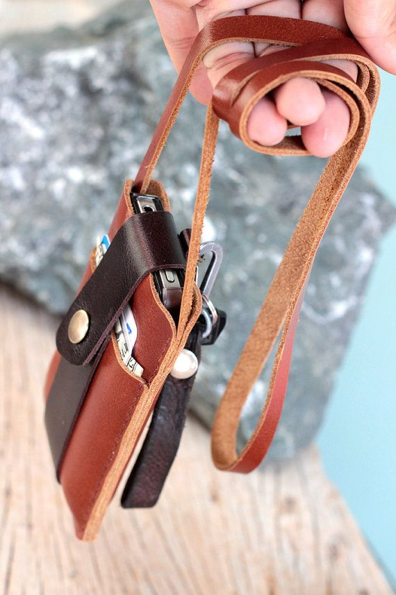 Chocolate brown leather iphone wallet with neck by SakatanLeather