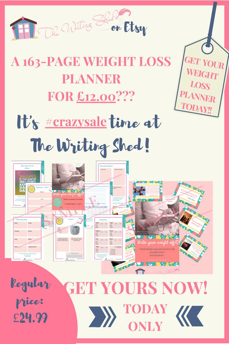 """#EtsySale - I know, I know... Monday is usually the """"I'll start my diet today"""" day, right? Well, The Writing Shed is going to give you a little help and motivation.  How about a beautiful 163-page #weightloss #planner for ONLY £12.00?? With a more holistic approach to weight loss, this planner includes worksheets that will help you: * to get into the right mindset to lose weight * to get in touch with your inner desires in order to find your real reason(s) to lose weight"""