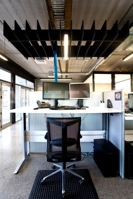 Autex Interior Acoustics - Quietspace® Lattice - Trapezium, Colour: Empire - Promapp Solutions, Auckland, NZ - Suspended from Ceiling - Modern Office Space