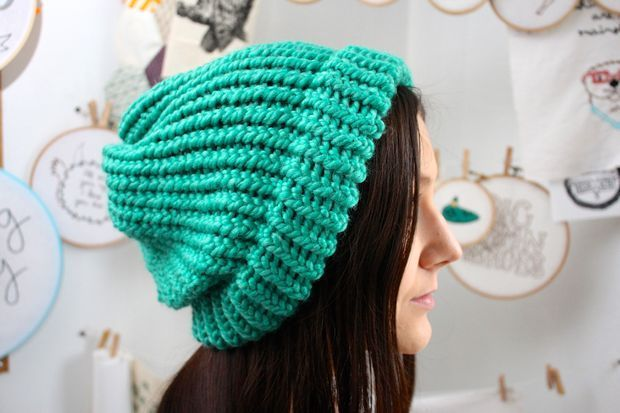 How To Loom Knit Slouchy Beanie Basketweave : Knit a slouchy hat on round loom knitting looms