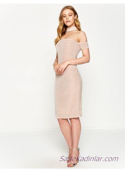 9b51233b7a8f5 Koton Abiye Elbise Modelleri Pudra Dizüstü Boyundan Askı Düşük Kol Parlak  Kumaş