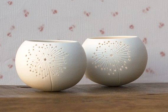 Ceramic candle holder  dandelion design. porcelain tea от wapa, $40.00