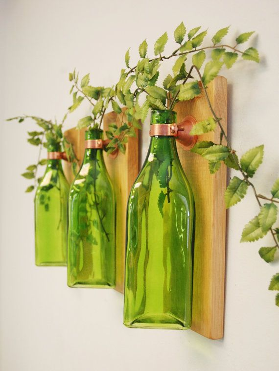 Set of 3 Triangle Bottles, Wall Decor, each mounted on wood base for unique rustic decor for bedroom decor kitchen decor