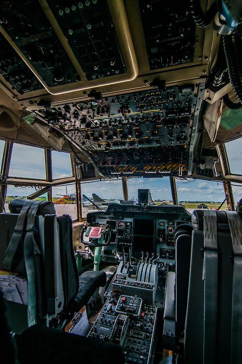 C130 Cockpit As Flight Engineer I Sat Between The Pilots