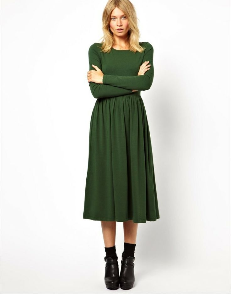 Long modest everyday dresses with sleeves