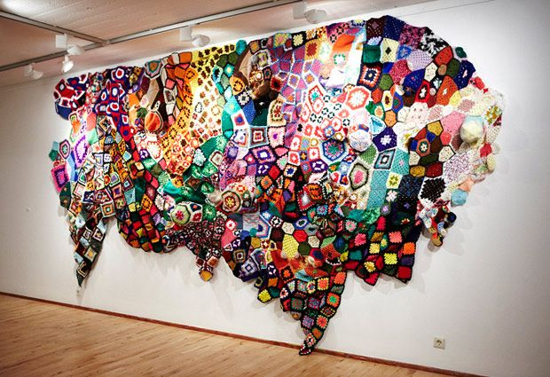 Knitting installation with forgotten or unfinished pieces by knitters long gone from this Earth. www.coolhunting.com/culture/loops.php