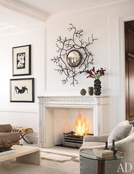 Architectural Digest: Wall Art, Mirror, Idea, Living Rooms, Fireplaces, Mantle, Sit Rooms, Architecture Digest, Branches
