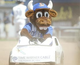 Wool-E- Bull, the mascot of the Durham Bulls-The Triple AAA affiliate of the Tampa Bay Devil Rays.
