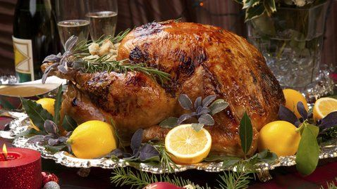 A delicious twist on the classic Christmas turkey with orange and rosemary. http://gustotv.com/recipes/dinner/buttermilk-brined-roast-crown-turkey/