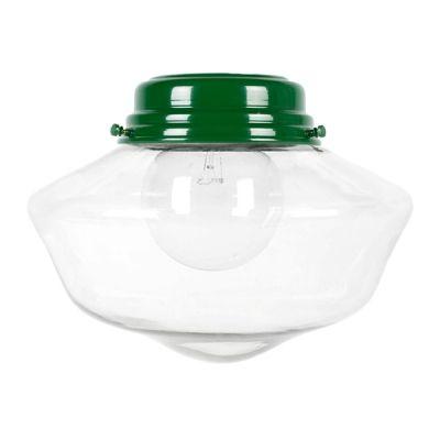 The Letterman Schoolhouse Flush Mount Light, 307-Emerald Green | Large Glass | Nostalgic Edison 40 Watt G30 Light Bulb