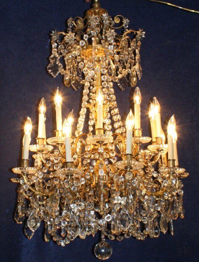 French gilt bronze u0026 crystal Baccarat chandelier