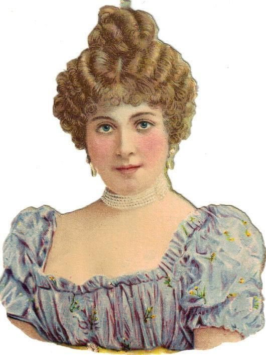 Victorian Die Cut Scrap Lovely Lady in Blue w Rosy Cheeks c1880