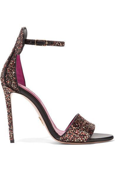 Heel measures approximately 100mm/ 4 inches Black, gold and red glittered leather Buckle-fastening ankle strap Made in Italy