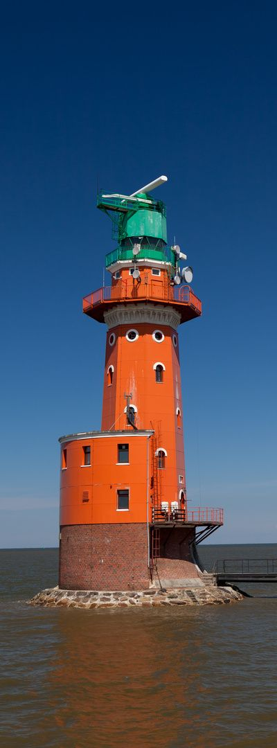 Hohe Weg Lighthouse is an offshore lighthouse in the German Bight, locatged 25 km north west of Bremerhaven, Germany. It is the oldest fixed offshore lighthouse of the Weser estuary in the Wadden Sea, having been in operation since 1856.