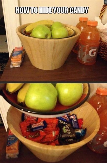 Behold, the perfect candy hiding place.  Funny and brilliant