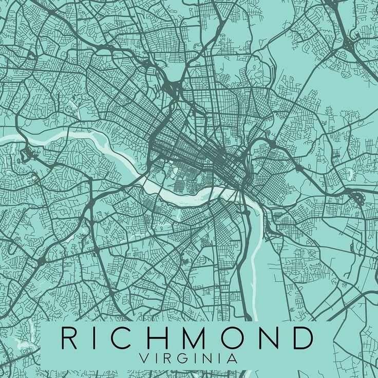 RICHMOND VA Canvas Print Ready To Hang Virginia City Map