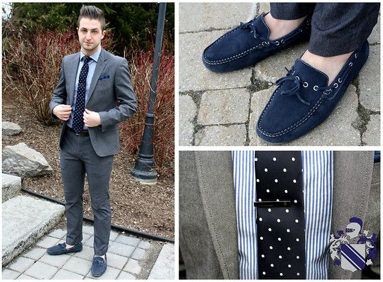 Le Chateau  Charcoal Grey Slim Fitted Suit, Navy Deck Loafers, Thrifted Blue Pocket Square, Le Chatau Blue Pinstipe Dress Shirt, Givenchy Navy Polka Dotted Tie, Le Chateau Metallic Skinny Tie Clip