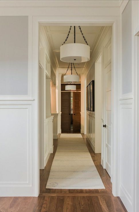 Jill Litner Kaplan Interiors - entrances/foyers - Benjamin Moore - Cement Gray - gray walls, gray wall color, millwork, mill work, wainscoti...