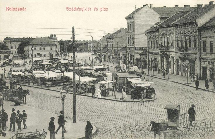 Kolozsvár:Széchenyi tér és piac,1908.  Szechenyi Square and Market.