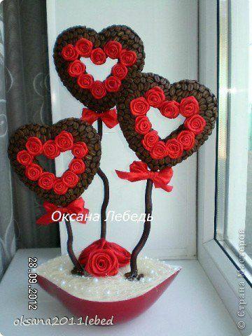 Кофейное деревце в форме сердца. Мастер-класс   Домохозяйка