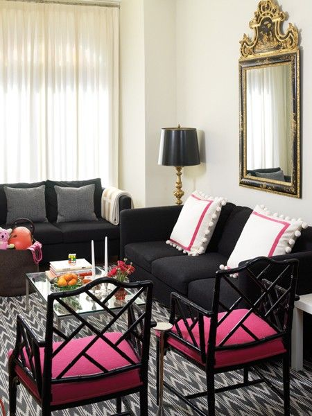 Love the pink & black: Decor Ideas, Living Rooms, Leather Couch, Interiors Design, White Pillows, House, Black Couch, Pink Accent, Pink Black