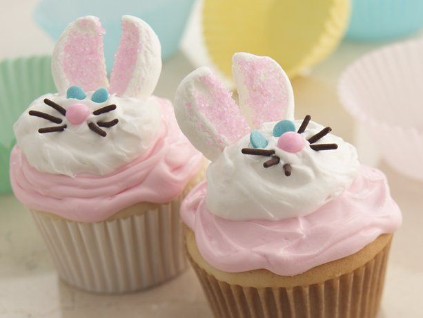 Bunny Cupcakes - You're just a hop away from making deliciously sweet bunny cupcakes. Cake mix and ready-to-spread frosting make it extra easy.