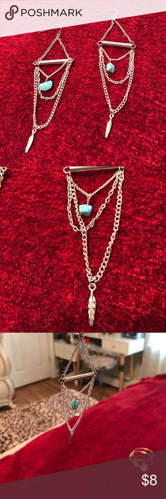 Earrings Beautiful dangling earrings with turquoise stone and feathers on the ends Jewelry Earrings