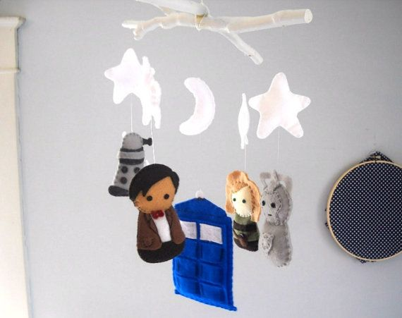 Dr. Who Baby Crib Mobile T.A.R.D.I.S Doctor Dalek Cyberman or Any Four characters - Custom Orders Available by FoxFluff, $95.00