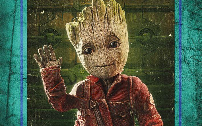 Download Wallpapers Baby Groot 4k 2017 Movie Art Guardians Of The Galaxy Vol 2 Besthqwallpapers Com Guardianes De La Galaxia Bebe Groot Fons De Pantalla