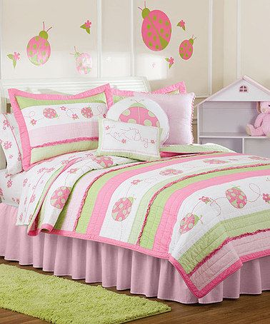Another great find on #zulily! Pink & Green Ladybug Quilt Set by Pem America #zulilyfinds
