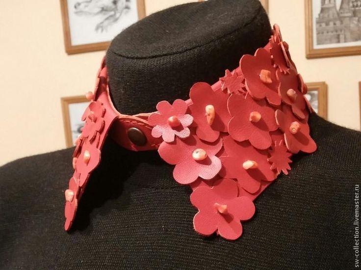 Мастер-класс: кожаный воротник с цветами - Ярмарка Мастеров - ручная работа, handmade