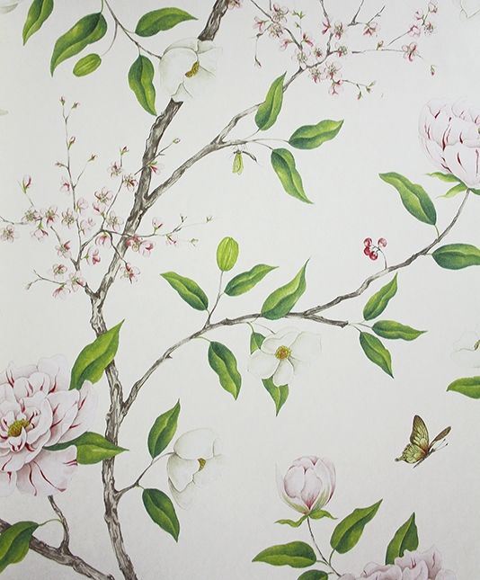 Romey's Garden Wallpaper A floral wallpaper featuring a trail of flowering peony branches in pink blossom, green and taupe on a cream background.