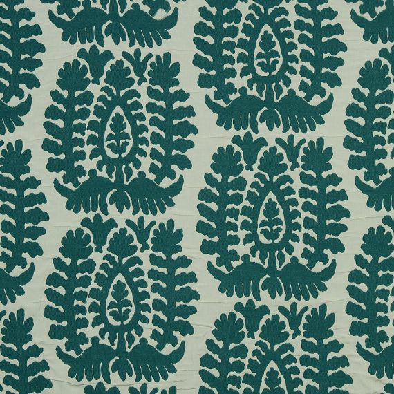 A contemporary ikat upholstery fabric in a woven pattern of dark teal and white. This textured home decor fabric is suitable for all furniture upholstery, pillows, roman shades and fabric headboards. Each medallion shape is approximately 13 inches in height. See additional color links and custom pillow cover pricing below. This listing is for fabric by the yard.  FABRIC SAMPLES:  Fabric Name for Sample Order: Utica Order Fabric Swatches Here: https://www.etsy.com/listing/1...