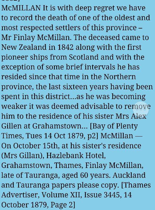 1879 Finlay McMillan Death/Life record
